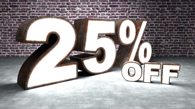 Text 25 percent off three-dimensional similar to rusty and illuminated sheet metal