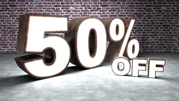 Text 50 percent off three-dimensional similar to rusty and illuminated sheet metal