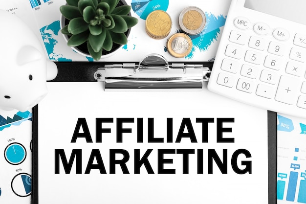Text affiliate marketing. business concept. flat lay.
