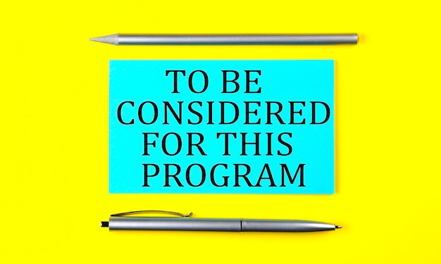 Text to be considered for this program on the blue sticker on the yellow background