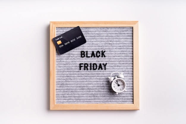 Text black friday on gray letter board