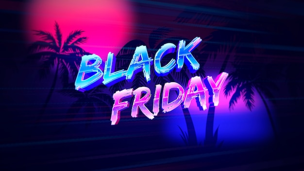 Text black friday with sunset and palms, retro background. elegant and luxury dynamic style for club and entertainment 3d illustration