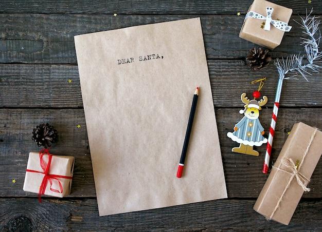 Text dear santa letter rustic
