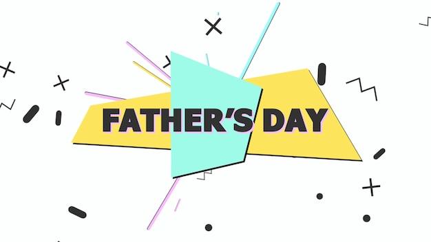 Текст день отца и движения абстрактные геометрические фигуры, фон мемфис. элегантный и роскошный стиль 3d иллюстрации для делового и корпоративного шаблона