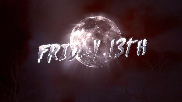 Текст пятница 13-е и мистический фон с темной луной и облаками, абстрактный фон. роскошная и элегантная 3d иллюстрация темы ужасов