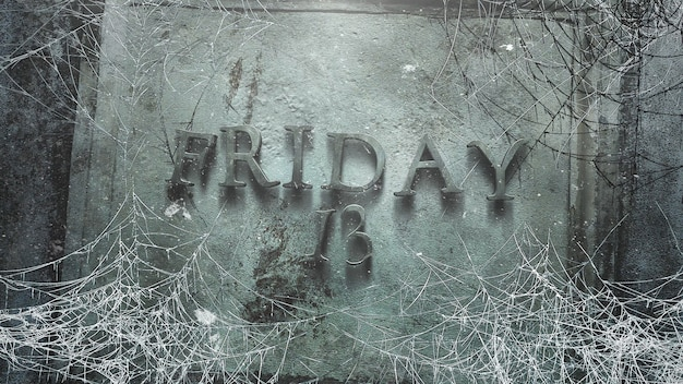 금요일 13일 텍스트와 어두운 거미줄, 추상적 배경이 있는 신비로운 공포 배경. 호러 테마의 고급스럽고 우아한 3d 일러스트