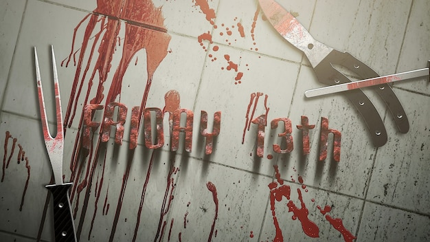 Text friday 13th and mystical horror background with dark blood and medical instruments, abstract backdrop. luxury and elegant 3d illustration of horror theme