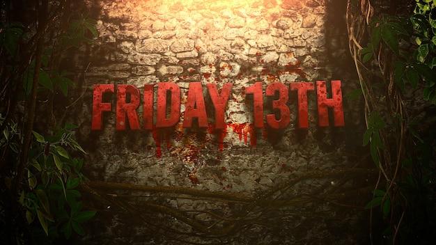 Отправьте текст friday 13th на фоне мистического ужаса в лесу с темной кровью. роскошная и элегантная 3d иллюстрация темы ужасов