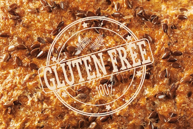 Text gluten free on bread