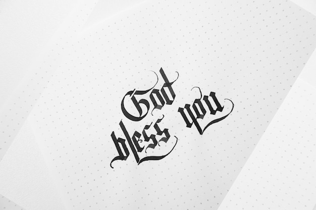 Text god bless you on the paper note texture background