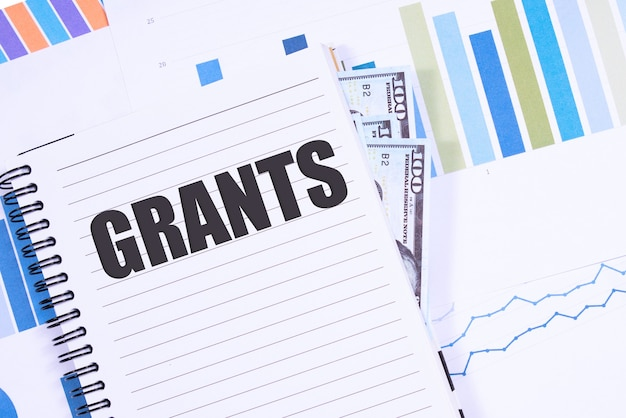 Text grants on chalkboard with graphs, tables, calculations, calculator.