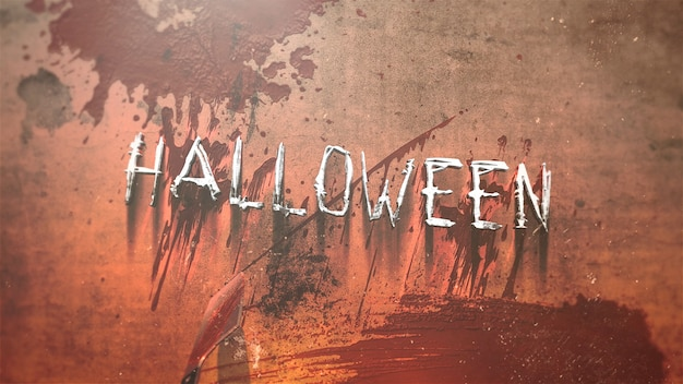 Text halloween and mystical horror background with dark blood, abstract backdrop. luxury and elegant 3d illustration of horror theme