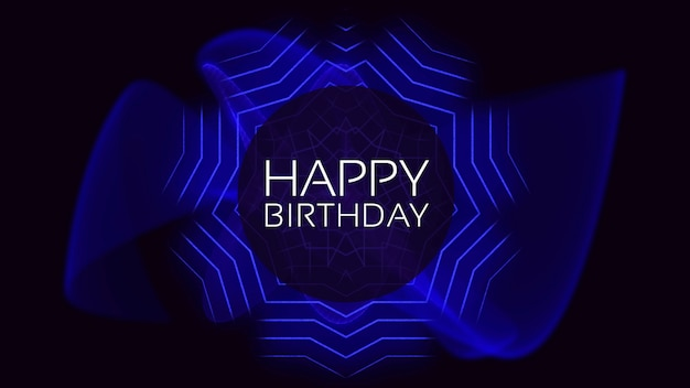 Text happy birthday and abstract neon blue lines, disco background. elegant and luxury 3d illustration style for club and corporate template