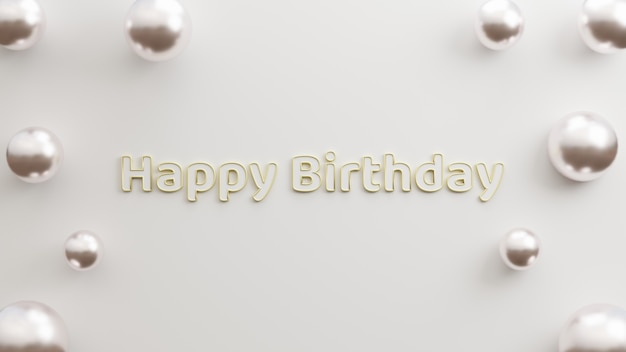 Text happy birthday modern gold with white background minimalist style 3d illustration rendering
