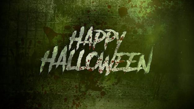 Текст happy halloween на мистическом на мистическом фоне ужасов с темной кровью. роскошная и элегантная 3d иллюстрация хэллоуина