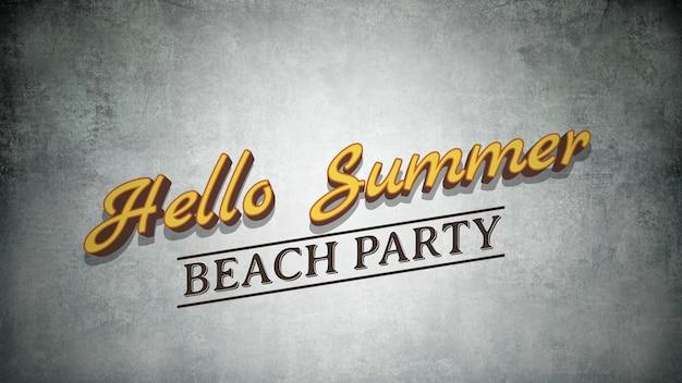 Text hello summer on grunge summer background