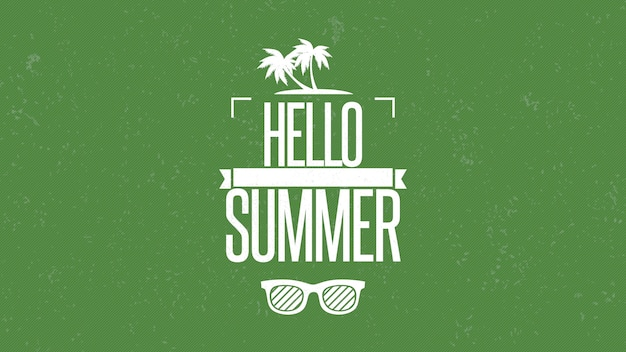 Text hello summer with sun glasses and palms, green summer background. elegant and luxury dynamic retro style 3d illustration for advertising and promo theme