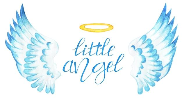 翼と青い色調のハローを持つテキスト小さな天使バレンタインデーは白い背景で隔離