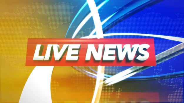 Text live news and news graphic with lines and circular shapes in studio, abstract background. elegant and luxury 3d illustration style for news template