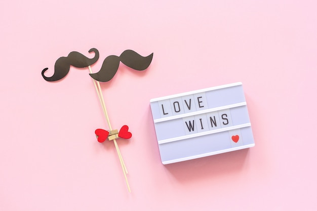 Text love wins and couple paper mustache props on pink background