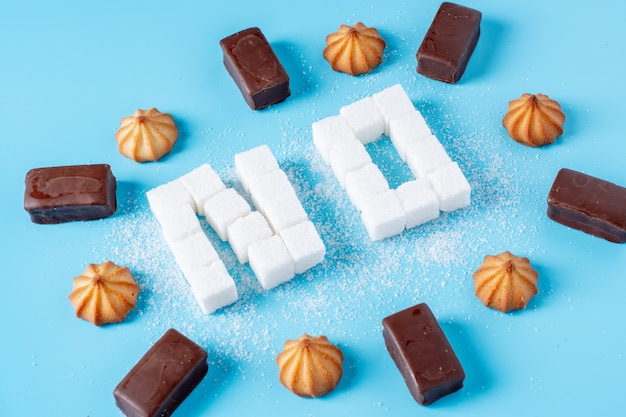 Text no is lined with sugar cubes with sweets and cookies