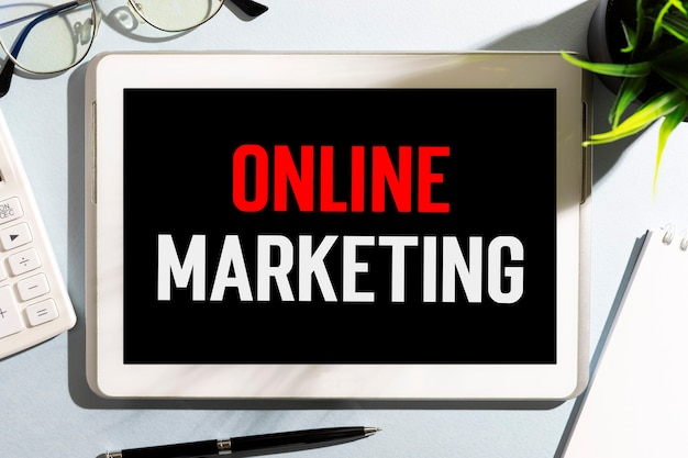 Text online marketing. business concept. flat lay.