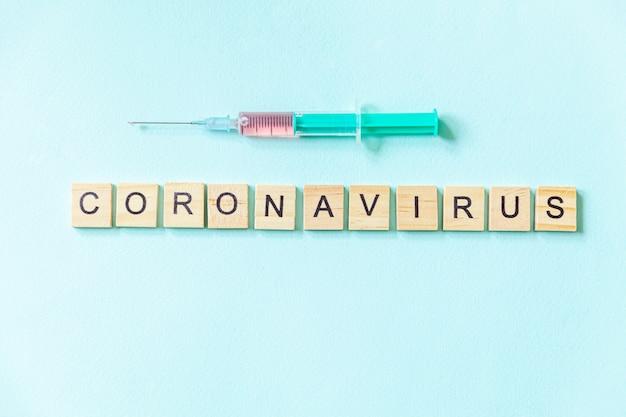 テキストフレーズコロナウイルスと青いパステルカラーの壁に注射器。新しいコロナウイルス2019-ncov mers-cov covid-19中東呼吸器症候群コロナウイルスウイルスワクチンのコンセプト。