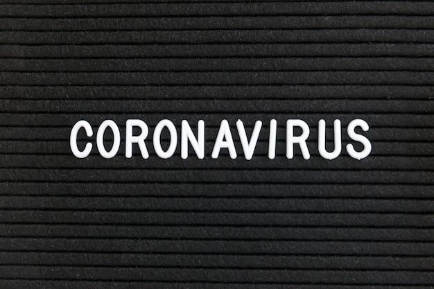 Text phrase coronavirus on black letter board.