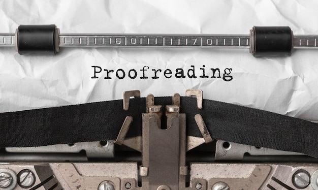 Text proofreading typed on retro typewriter