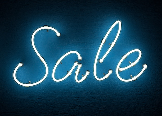 Text sale made from neon alphabet 3d rendering