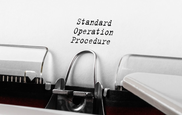 Text standard operation procedure typed on retro typewriter