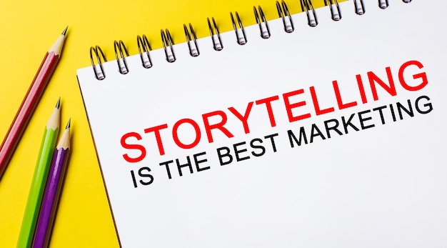 Text storytelling is the best marketing on a white notepad with pencils on a yellow background