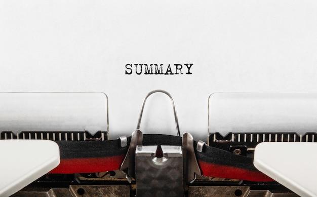 Text summary typed on retro typewriter