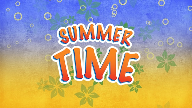 Text summer time with fly flowers and rings, summer background. elegant and luxury dynamic retro style 3d illustration for advertising and promo theme