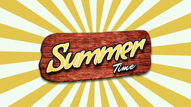 Летнее время текста с солнечными лучами и древесиной для текста, желтым летним фоном. элегантная и роскошная динамичная 3d-иллюстрация в стиле ретро для рекламы и промо-темы
