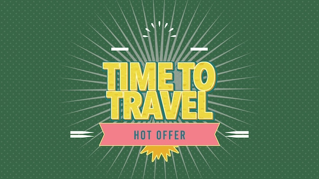 Text time to travel with sun rays and vintage stamp, green summer background. elegant and luxury dynamic retro style 3d illustration for advertising and promo theme