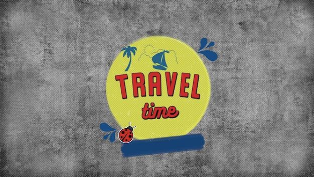 Время путешествия текста с пальмами, лодками и солнцем, летним фоном. элегантная и роскошная динамичная 3d-иллюстрация в стиле ретро для рекламы и промо-темы