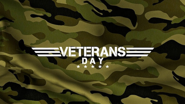 День ветеранов текста на зеленом фоне военных. элегантная и роскошная 3d иллюстрация для шаблона военных и военных действий