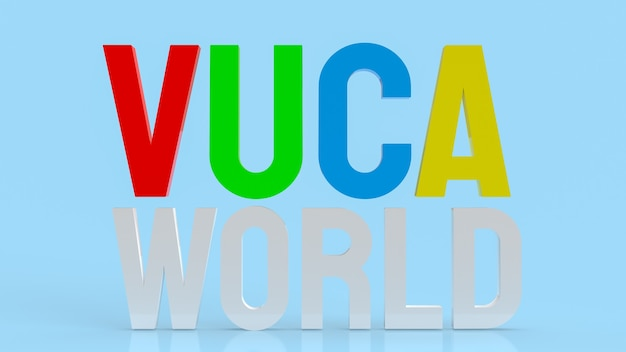 The text  vuca world or volatility, uncertainty, complexity and ambiguity 3d rendering