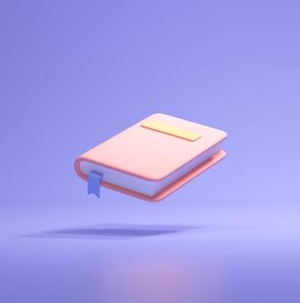보라색 배경에 고립 된 만화 스타일에 있는 교과서 아이콘. 3d 렌더링