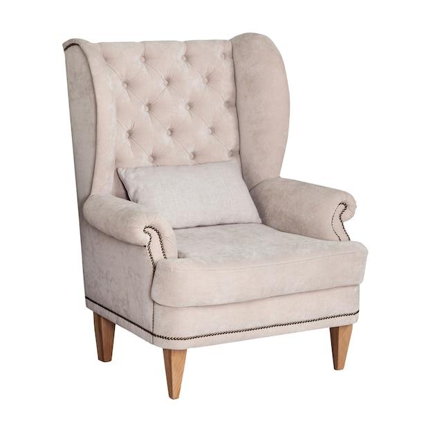 白で隔離のテキスタイルクラシックグレーの椅子
