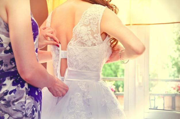 Textile corset dress people buttons