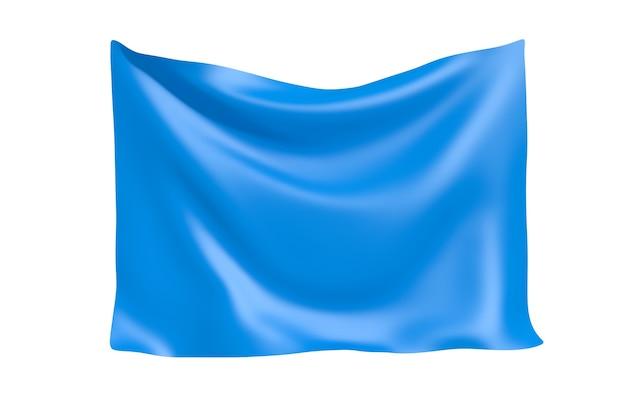 テキスタイルファブリックバナー。白い背景の上のあなたのデザインのための空白のスペースで青い布のバナーをぶら下げます。 3dレンダリング