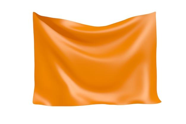 テキスタイルファブリックバナー。白い背景の上のあなたのデザインのための空白のオレンジ色の布のバナーをぶら下げます。 3dレンダリング