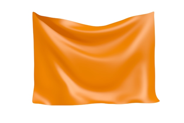 Textile fabric banner. hanging orange cloth banner with blank space for your design on a white background. 3d rendering