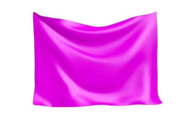 テキスタイルファブリックバナー。白い背景の上のあなたのデザインのための空白のピンクのバラの布のバナーをぶら下げます。 3dレンダリング