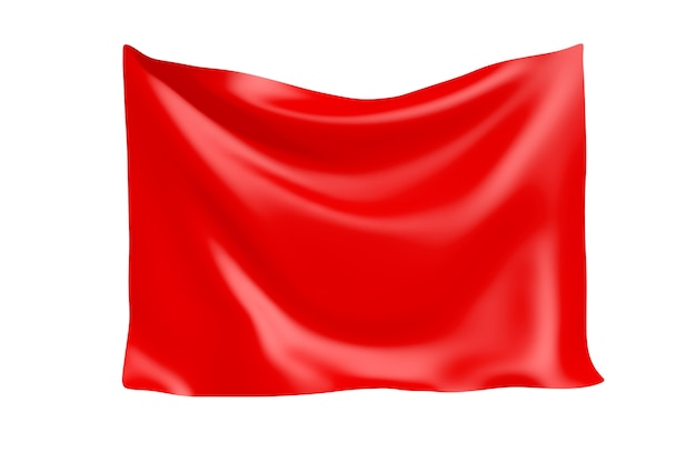 Textile fabric banner. hanging red cloth banner with blank space for your design on a white background. 3d rendering