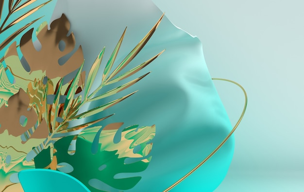 Текстильная ткань в движении с золотыми металлическими тропическими пальмовыми листьями и кольцами