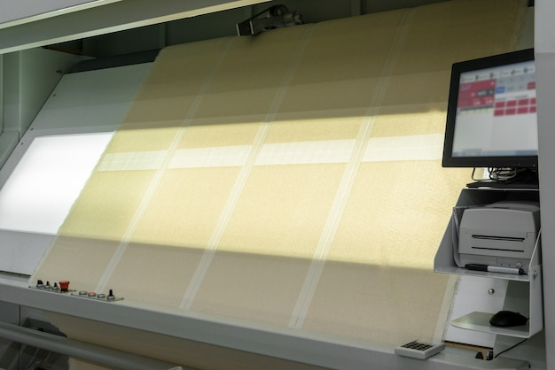 Textile products and fabric in slides on lamp backlit screen