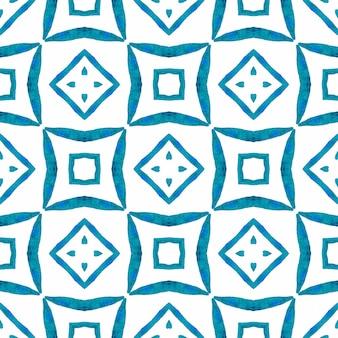 Textile ready admirable print, swimwear fabric, wallpaper, wrapping. blue exotic boho chic summer design. hand drawn green mosaic seamless border. mosaic seamless pattern.